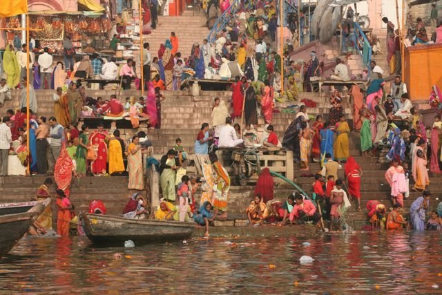 Morning rush hour on the ghats at Varanasi.