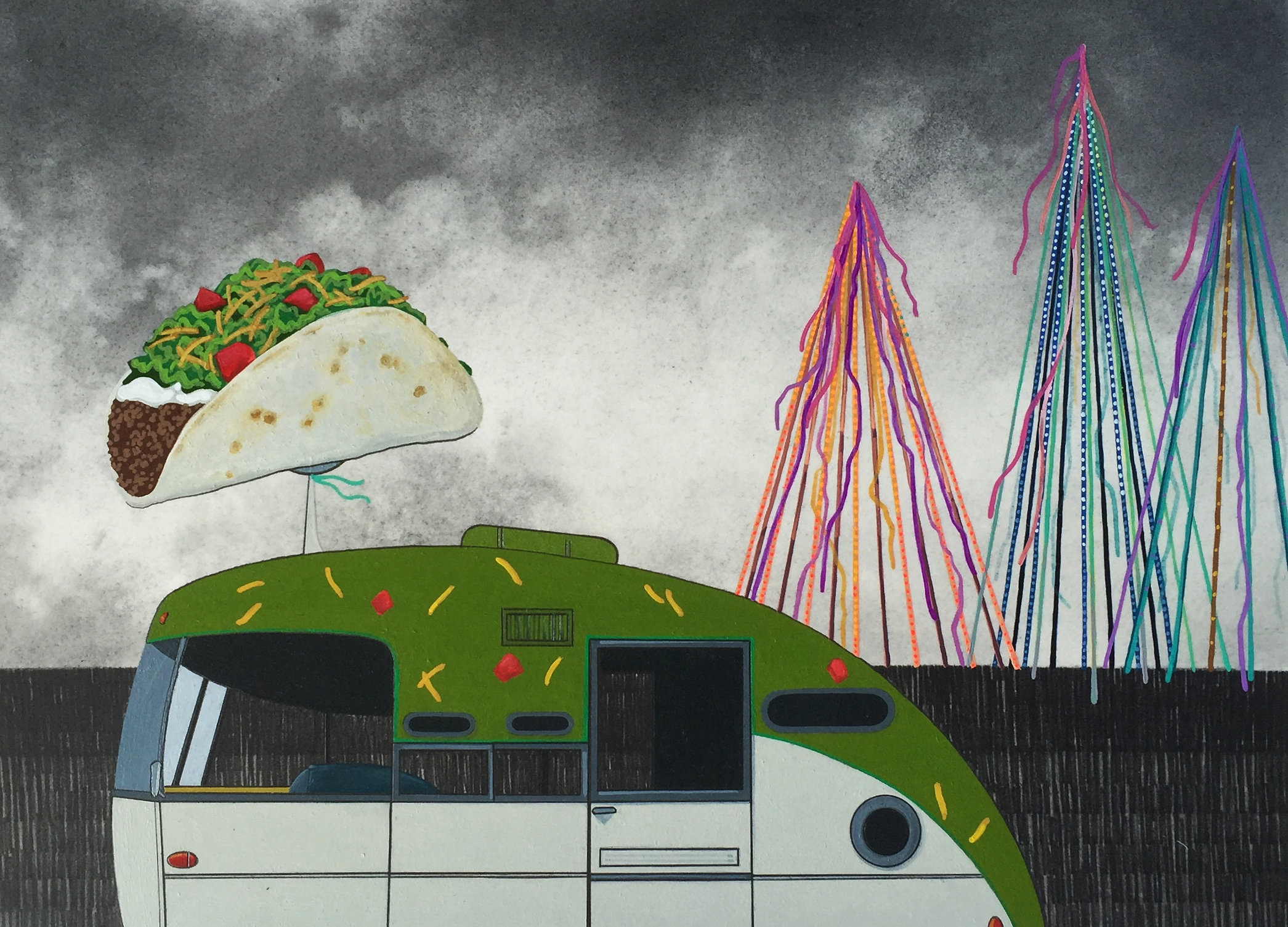 Soft Taco Truck, 2016, graphite and gouache on paper, 9 x 12""