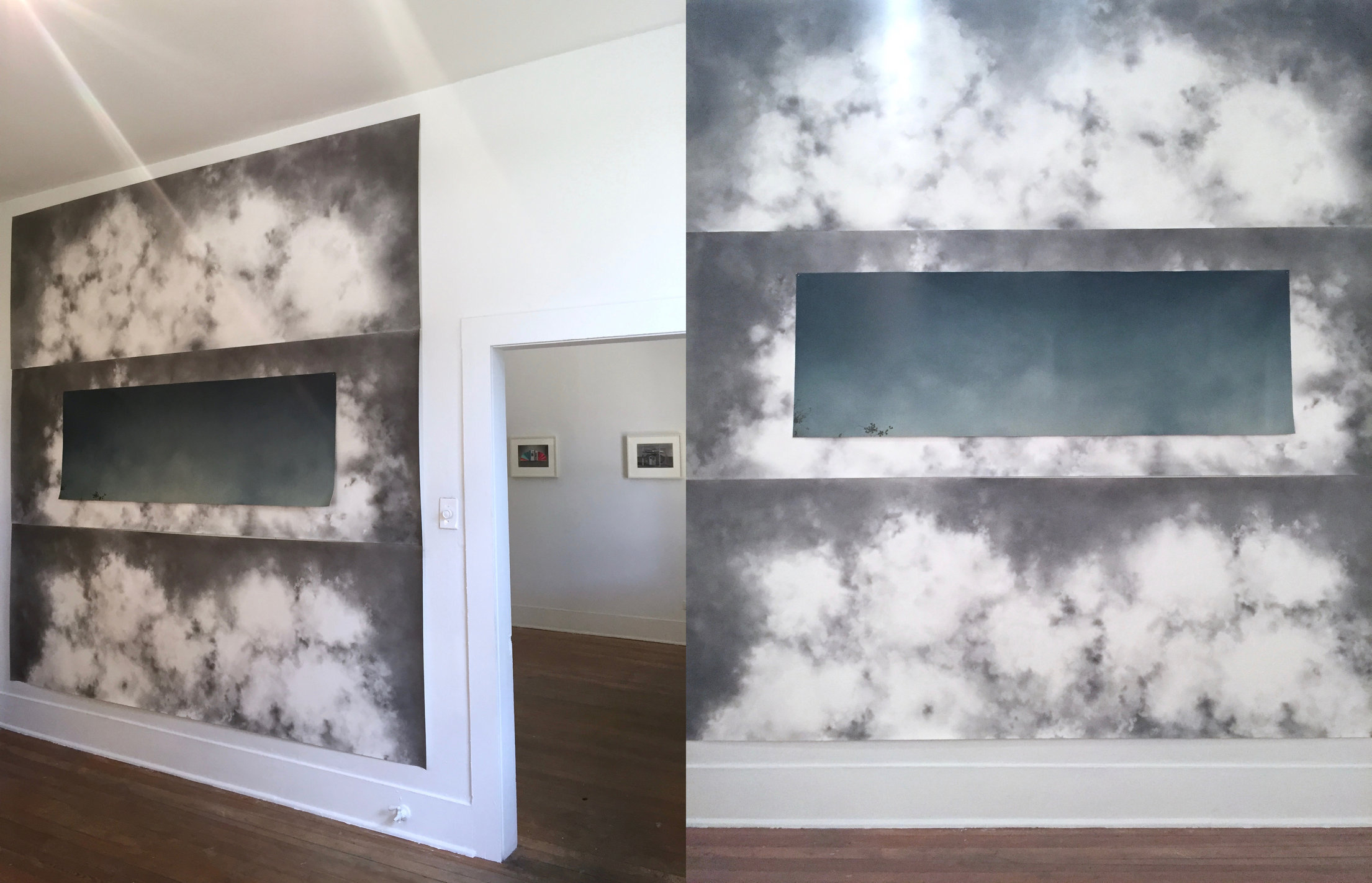 Clouds (installation view), 2016, graphite on paper & oil on canvas, 112 x 112""