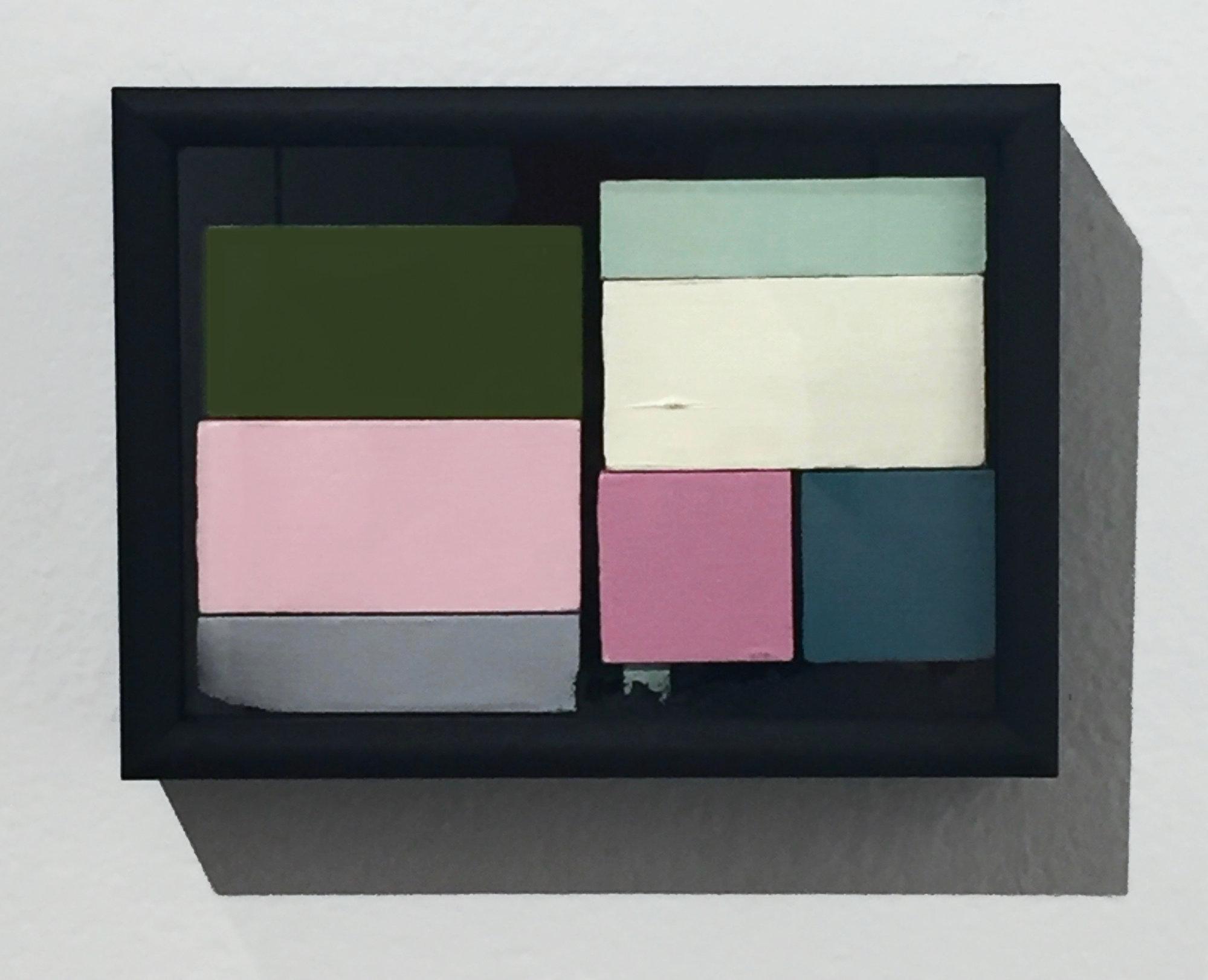"Object Permanence 2, 2016, wood, acrylic, graphite powder & artist's frame, 5 x 7"""