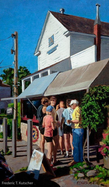 Rowers Arrive for Coffee - Burton Coffee Stand (Vashon WA) (15W  25H oil on canvas on board) 2010-21