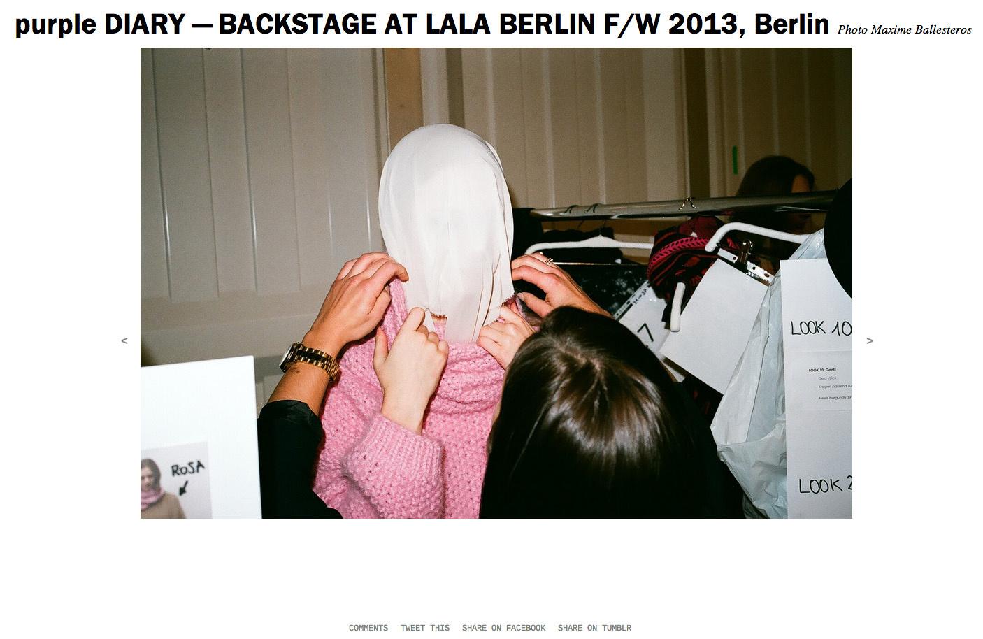 purple DIARY   BACKSTAGE AT LALA BERLIN F W 2013  Berlin.jpg