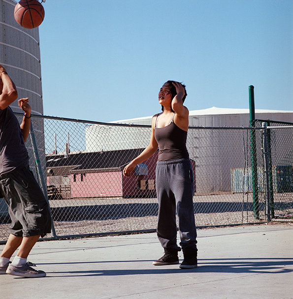 Jade playing basketball, August 2014