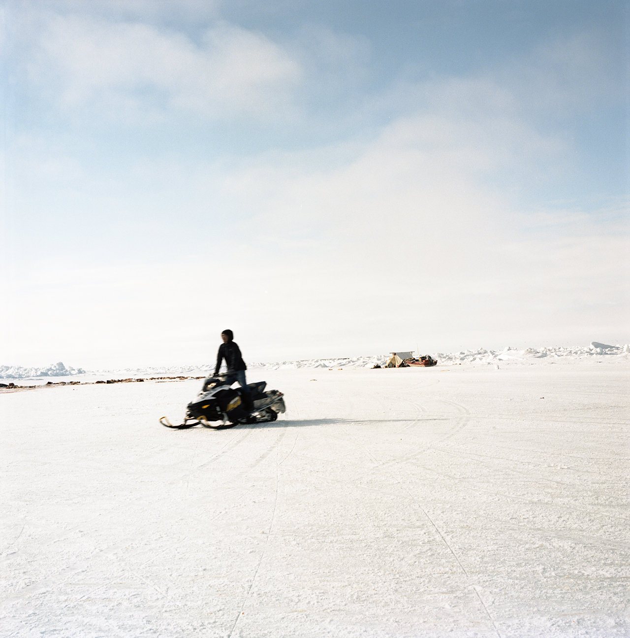 Zach on his snow machine, 2012