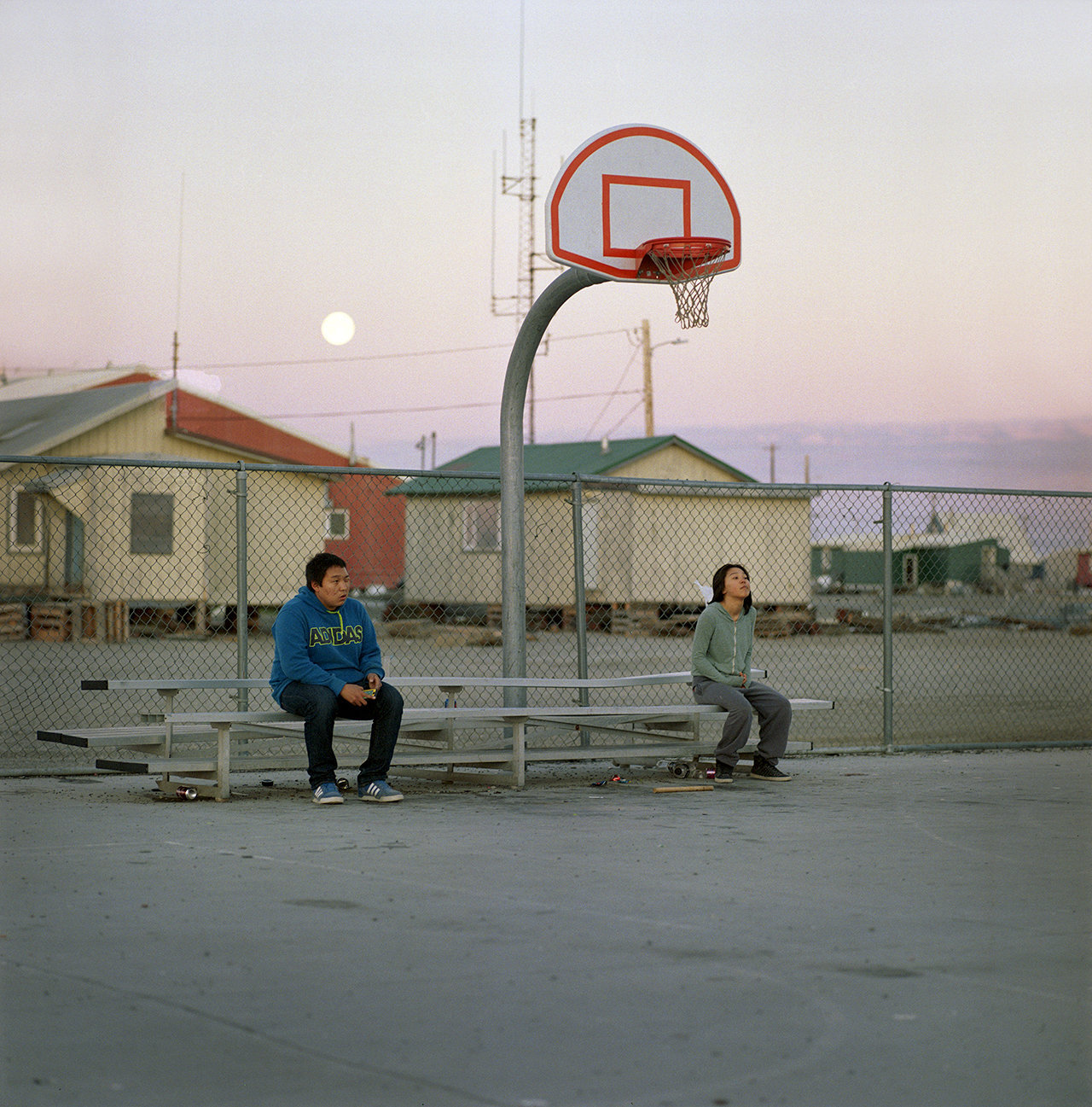 Sam and Jade around midnight at the basketball court, 2014