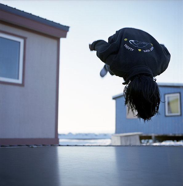 Back flip on the trampoline, May 2009
