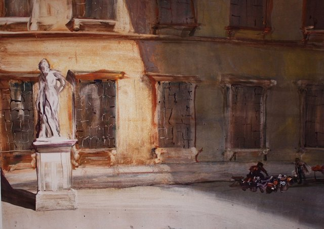 Morning Piazza   22 x 28""