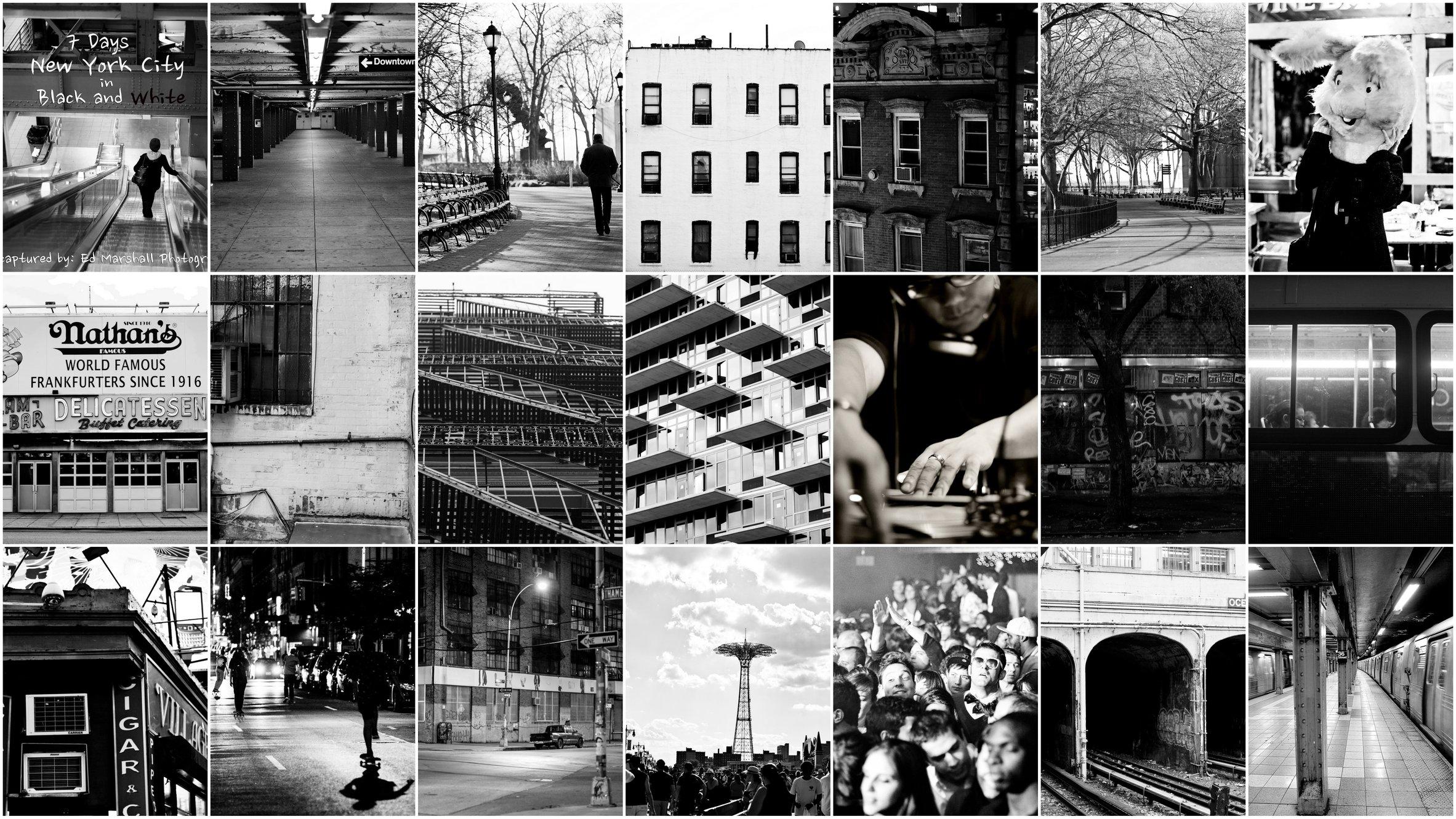 7 Days New York City In Black White