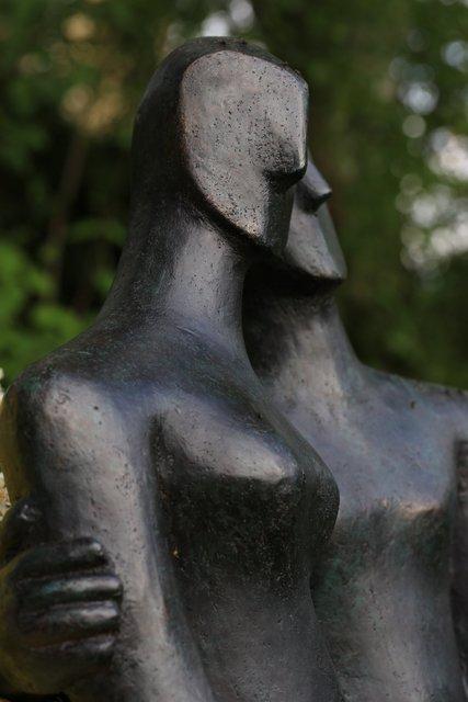 Etruscan couple 1  2005   67 x 60 x 20cm   Bronze Resin Open Studio  2015 OAW
