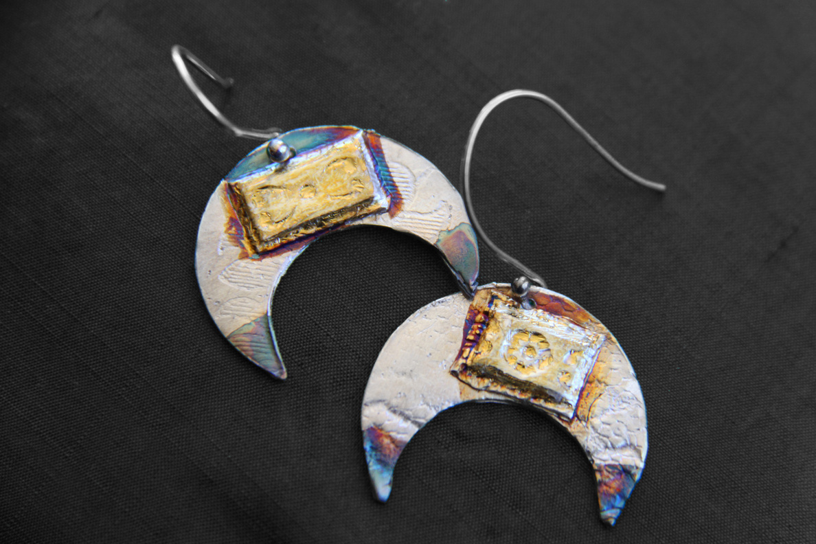 Crescent Moon Earrings - silver w/ 24k gold and patina - Dimensions 2 X 2.5 cm