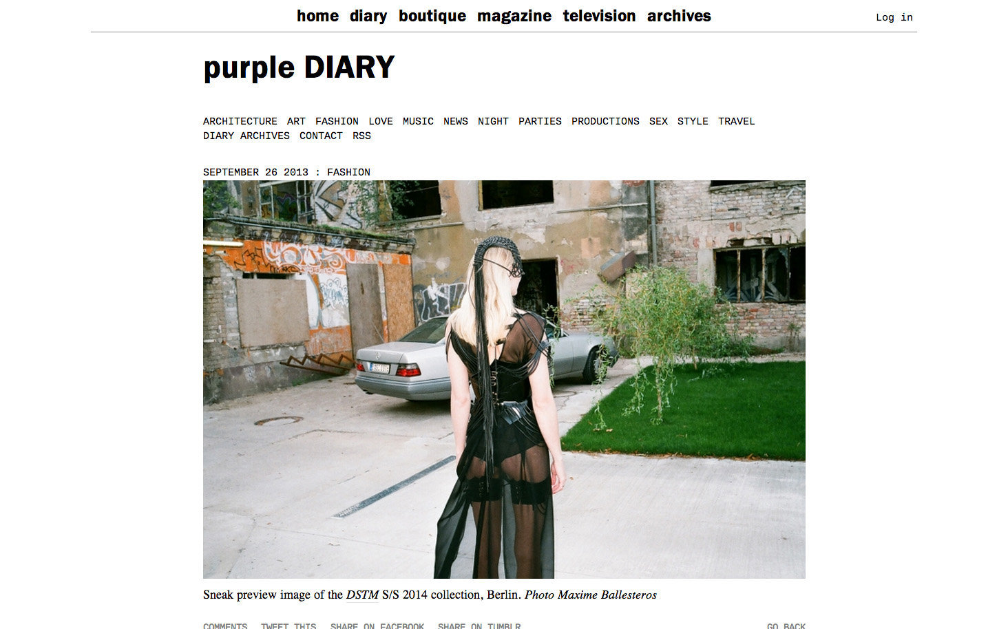 purple DIARY   Sneak preview image of the DSTM S S 2014 collection  Berlin. Photo Maxime.jpg