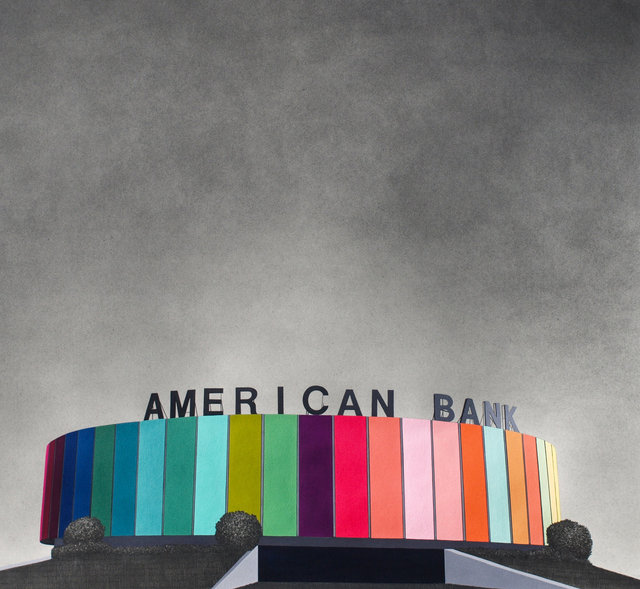 "American Bank, 2013, gouache and graphite on paper, 24 x 26"" **"