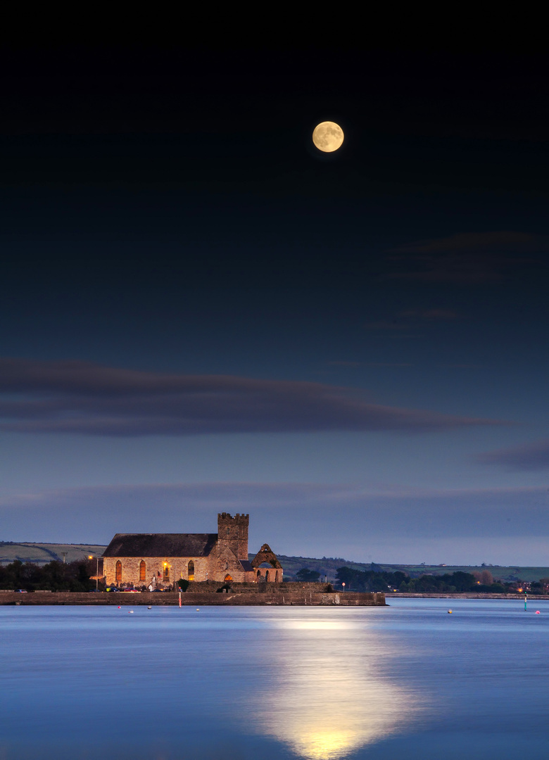 Abbeyside Church Under Moonlight