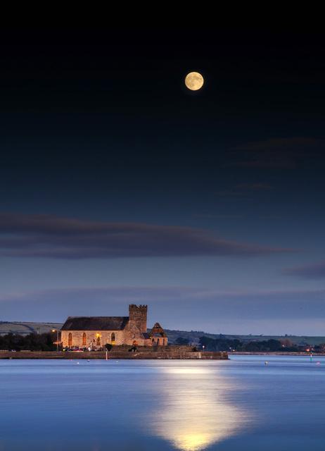 Abbeyside Church Under Moonlight