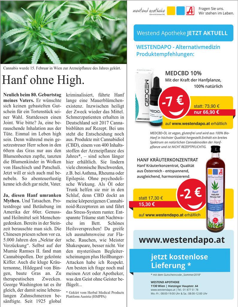 """Advertorials für """"Westend Apotheke"""" Wien"""
