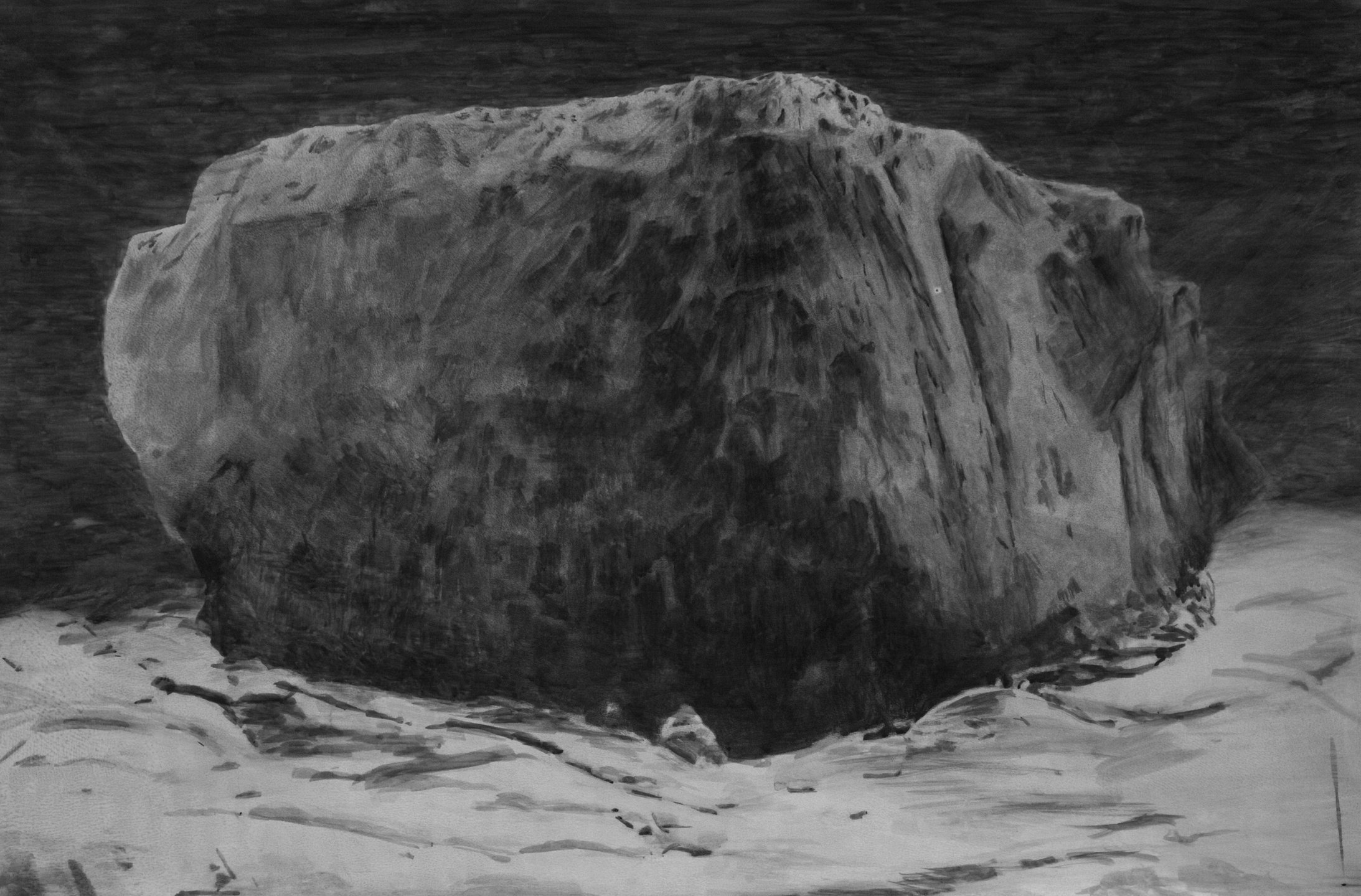 Black rock II - 2016 - photographic emulsion and watercolour on paper - 73x107cm