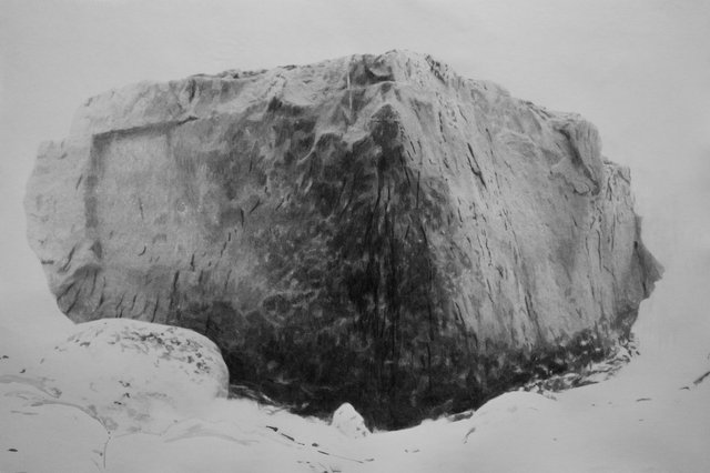 Black rock IV - 2016 - photographic emulsion and watercolour on paper - 72x107cm
