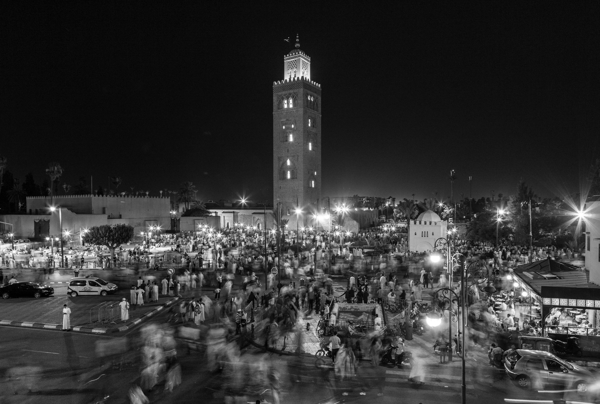 End of evening prayers at Koutoubia, Marrakesh at Ramadan