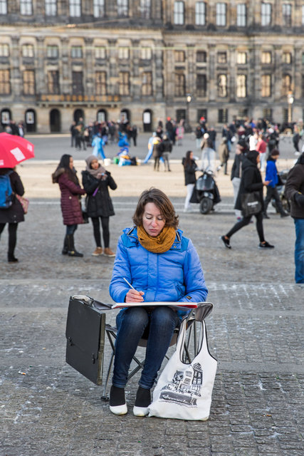 Artist Ellessi on Dam Square, Amsterdam