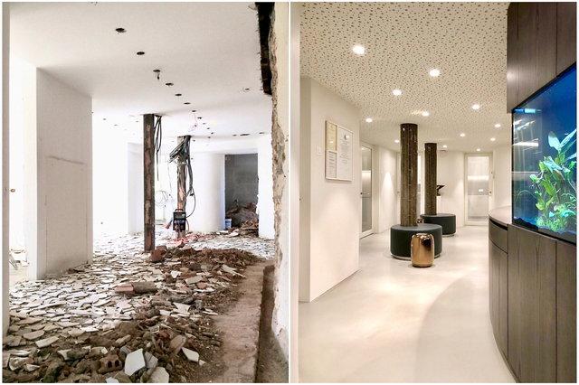 Derselbe Korridor vor und nach der Renovation