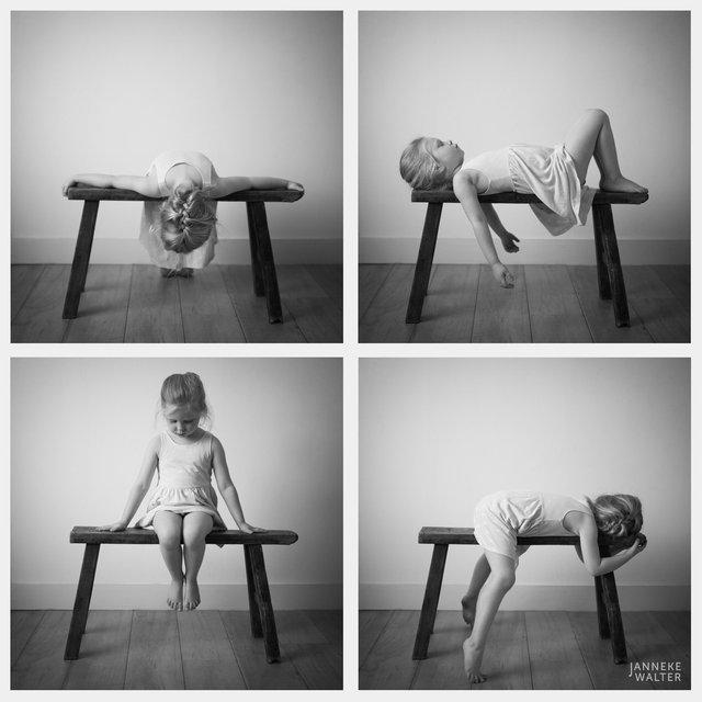 Collage fine art portretfoto kind op bankje met vaasje @ Janneke Walter, kinderfotograaf Utrecht De Bilt, kinderfotografie, kinderportret, fine art fotografie