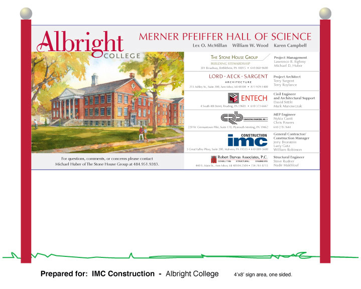 Construction signage - Albright College