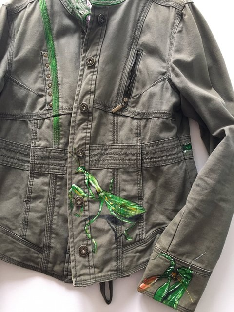 Jeans Jacket - Front Side - Praying Mantis