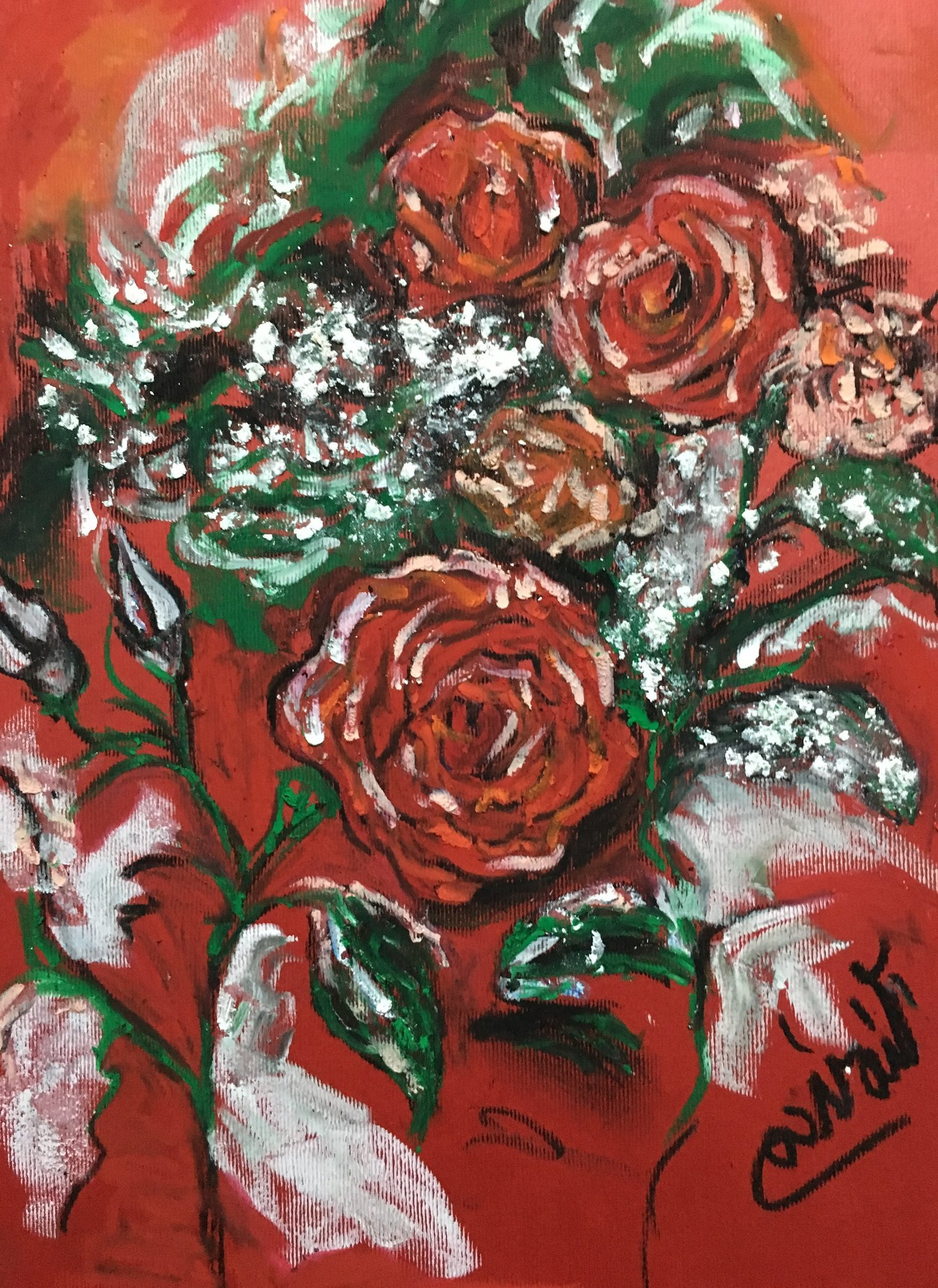 Frozen Red Roses