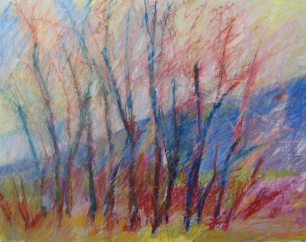Cottonwoods with East Edge of Mt Sopris, 2008, Pastel on Paper, 16 x 20 in.