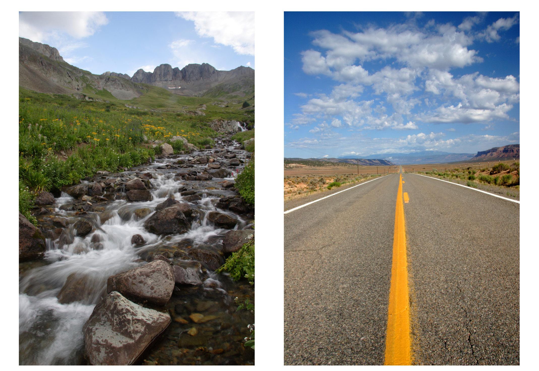 (left) American Basin, Colorado; (right) southern Colorado