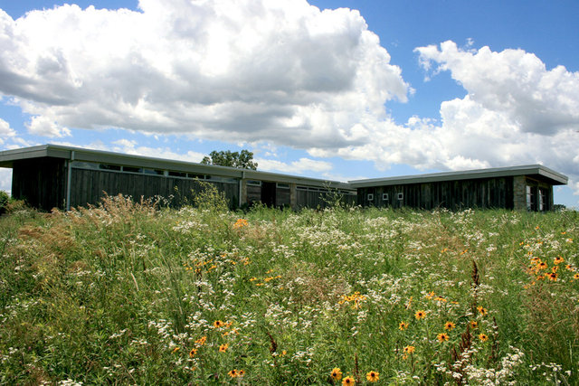 """Illinois prairie restoration and the Northern elevation of """"Lowder House"""""""