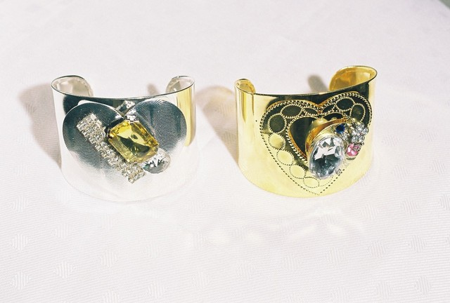 CUFFS- SILVER, CLEAR, YELLOW STONE, GOLD CLEAR, PINK STONE