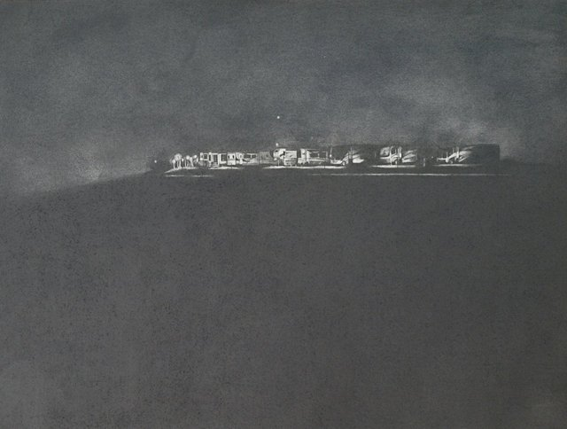 I-35 at Night, 2009, graphite on paper, 12 x 16""