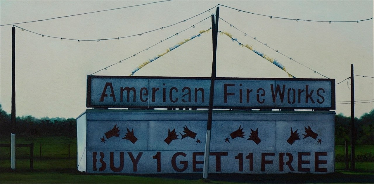 "American Fireworks, 2013, acrylic and oil on paper, 20.5 x 10"" **"