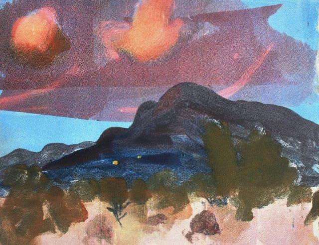 "Sunset- Sandia Mtns.   10 x 13"""