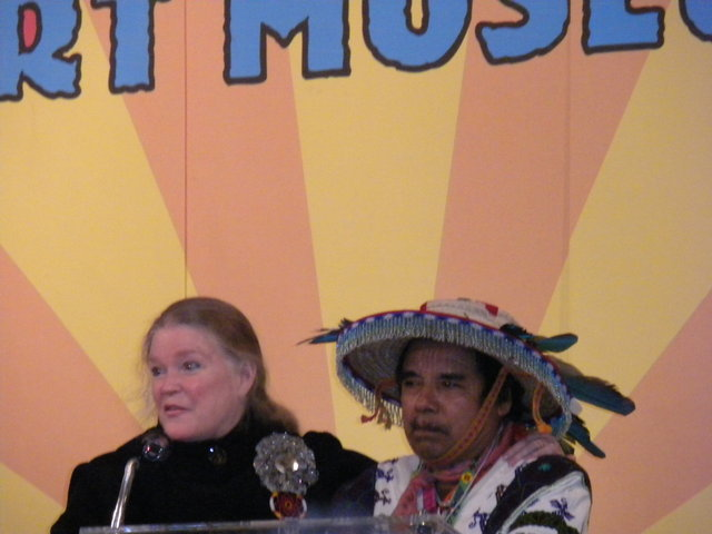 Director of AVAM, Rebecca Hoffberger, with Shaman Macario at AVAM event (2012)