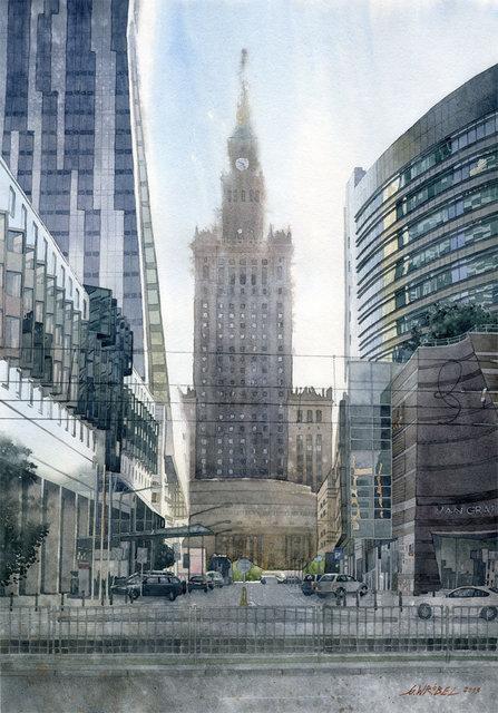 Cztery twarze Warszawy 50x70 akwarela (wł. pryw.)