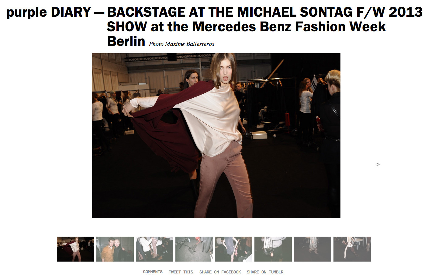purple DIARY   BACKSTAGE AT THE MICHAEL SONTAG F W 2013 SHOW at the Mercedes Benz Fashion Week Berli