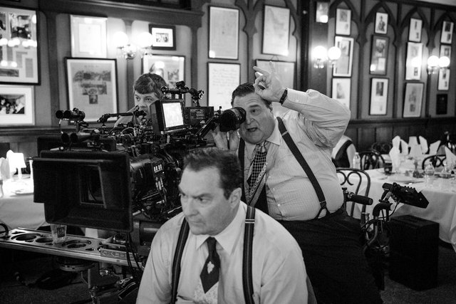 John Goodman and Stephen Root on the set of TRUMBO