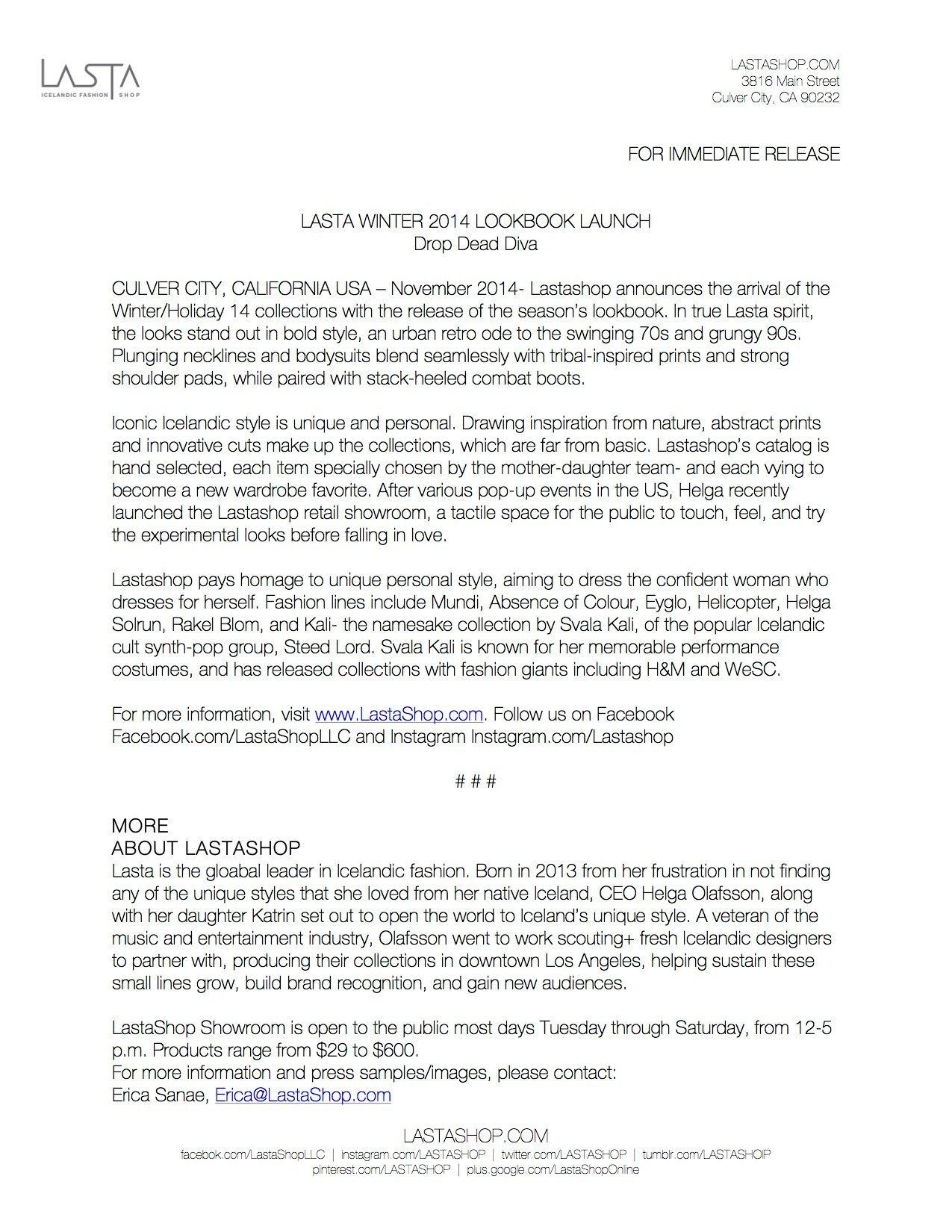 LASTASHOP Press Release