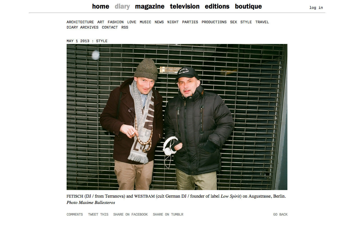 purple DIARY   Fetisch  DJ   from Terranova  and Westbam  cult German DJ   founder of label Low Spir