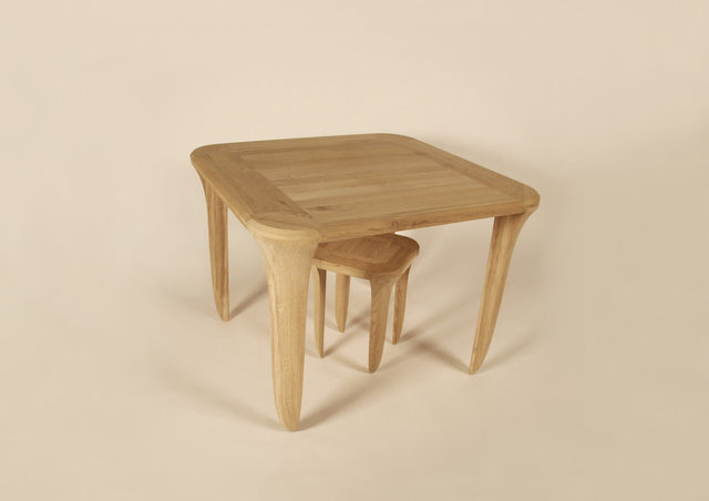 on tiptoes +, table and stool