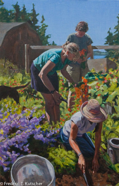 Three Sisters Gardening with Dog (20W  31H oil on linen on board) 2011-9_.jpg