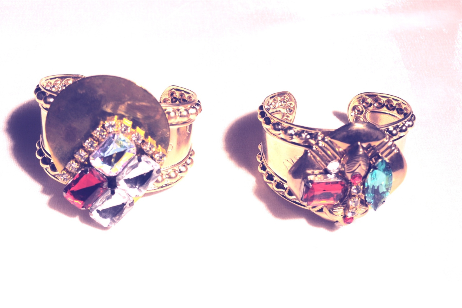 Gold CUFFS- red, clear stones,  Gold red, green stones