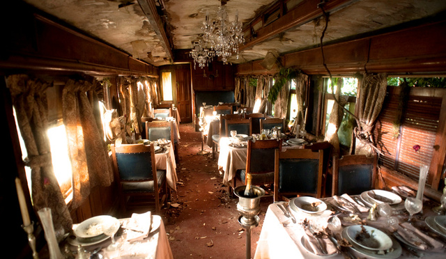 Abandoned train carriage Int