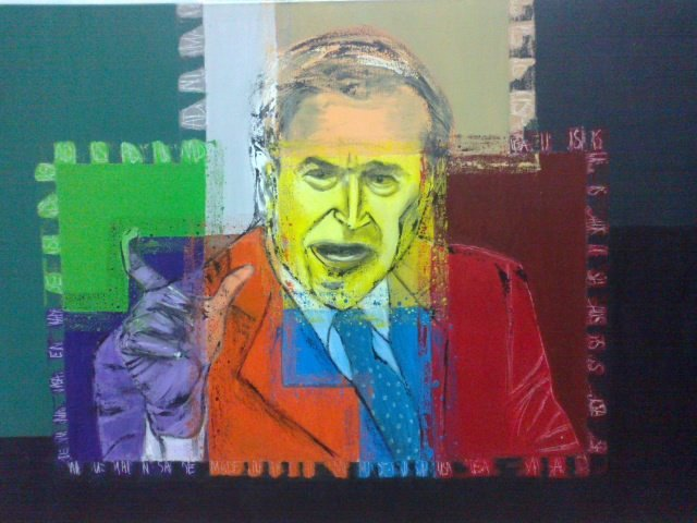 Dyktatorzy: Bush, 70x100 akryl płótno
