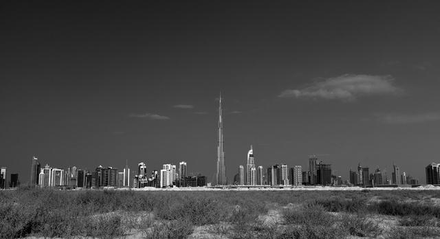 Dubai Desert Cityscape B&W