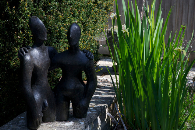 Etruscan Couple 2   2006  50 x 68 x 28cm  Bronze Resin Gallery Hemingway near Oxford