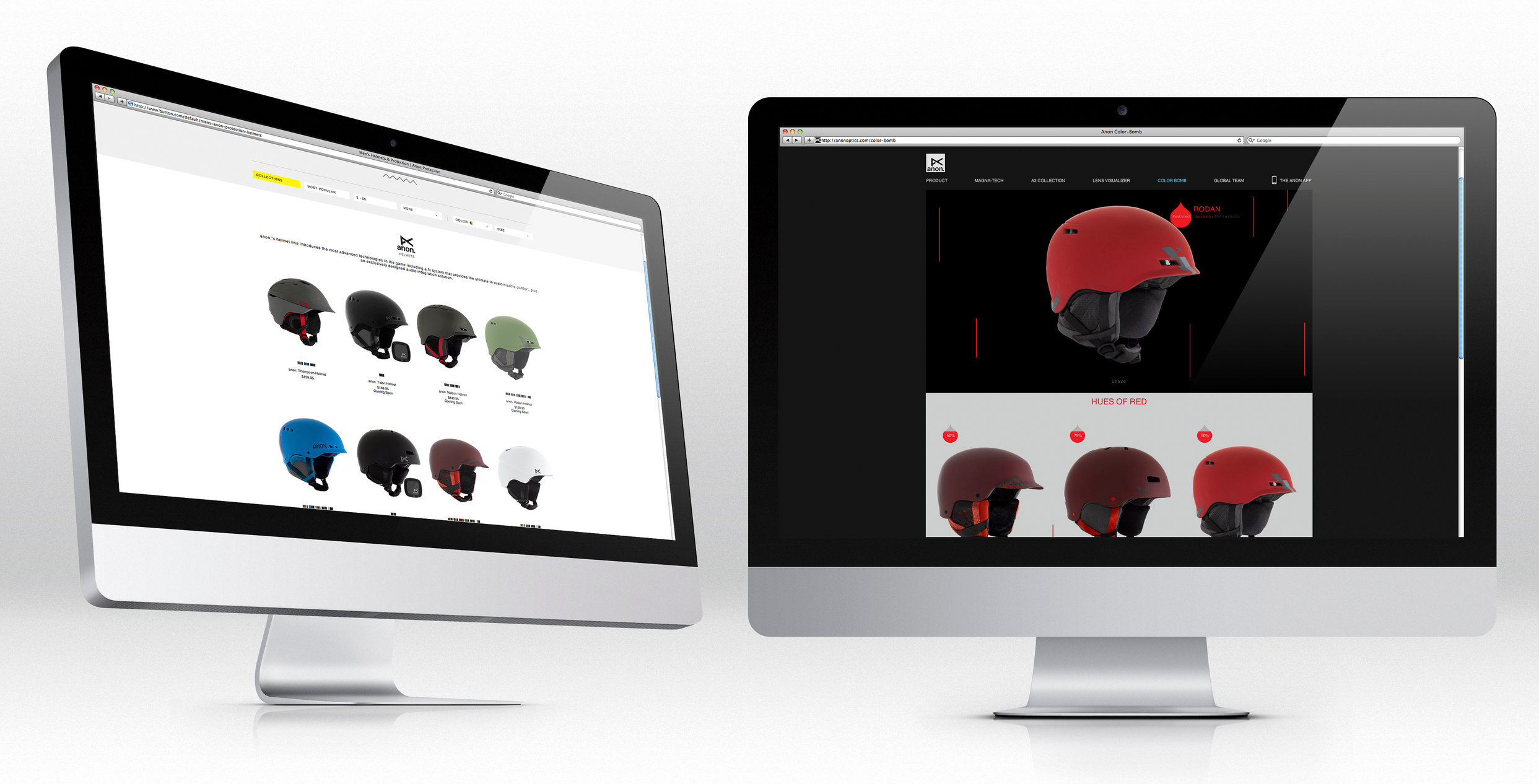 Product photography for anon helmets website and marketing materials