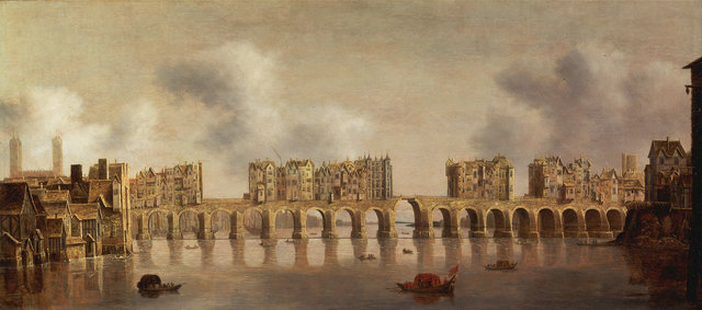 Old London Bridge, by Dutch painter Claude de Jongh (1632)
